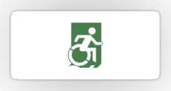 Accessible Exit Sign Project Wheelchair Wheelie Running Man Symbol Means of Egress Icon Disability Emergency Evacuation Fire Safety Sticker 94