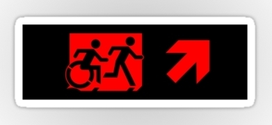 Accessible Exit Sign Project Wheelchair Wheelie Running Man Symbol Means of Egress Icon Disability Emergency Evacuation Fire Safety Sticker 97