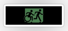 Accessible Exit Sign Project Wheelchair Wheelie Running Man Symbol Means of Egress Icon Disability Emergency Evacuation Fire Safety Sticker 98