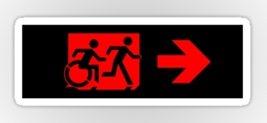 Accessible Exit Sign Project Wheelchair Wheelie Running Man Symbol Means of Egress Icon Disability Emergency Evacuation Fire Safety Sticker 99