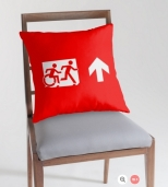 Accessible Exit Sign Project Wheelchair Wheelie Running Man Symbol Means of Egress Icon Disability Emergency Evacuation Fire Safety Throw Pillow Cushion 1