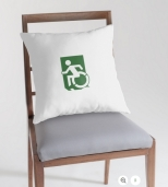 Accessible Exit Sign Project Wheelchair Wheelie Running Man Symbol Means of Egress Icon Disability Emergency Evacuation Fire Safety Throw Pillow Cushion 102