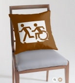 Accessible Exit Sign Project Wheelchair Wheelie Running Man Symbol Means of Egress Icon Disability Emergency Evacuation Fire Safety Throw Pillow Cushion 103