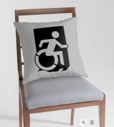 Accessible Exit Sign Project Wheelchair Wheelie Running Man Symbol Means of Egress Icon Disability Emergency Evacuation Fire Safety Throw Pillow Cushion 104