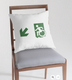 Accessible Exit Sign Project Wheelchair Wheelie Running Man Symbol Means of Egress Icon Disability Emergency Evacuation Fire Safety Throw Pillow Cushion 106