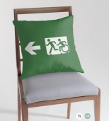 Accessible Exit Sign Project Wheelchair Wheelie Running Man Symbol Means of Egress Icon Disability Emergency Evacuation Fire Safety Throw Pillow Cushion 109