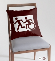 Accessible Exit Sign Project Wheelchair Wheelie Running Man Symbol Means of Egress Icon Disability Emergency Evacuation Fire Safety Throw Pillow Cushion 110
