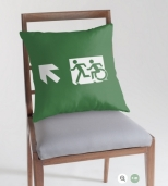 Accessible Exit Sign Project Wheelchair Wheelie Running Man Symbol Means of Egress Icon Disability Emergency Evacuation Fire Safety Throw Pillow Cushion 111