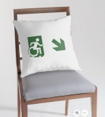 Accessible Exit Sign Project Wheelchair Wheelie Running Man Symbol Means of Egress Icon Disability Emergency Evacuation Fire Safety Throw Pillow Cushion 112