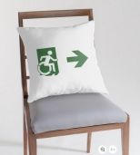 Accessible Exit Sign Project Wheelchair Wheelie Running Man Symbol Means of Egress Icon Disability Emergency Evacuation Fire Safety Throw Pillow Cushion 114