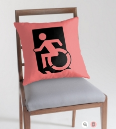 Accessible Exit Sign Project Wheelchair Wheelie Running Man Symbol Means of Egress Icon Disability Emergency Evacuation Fire Safety Throw Pillow Cushion 116