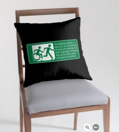Accessible Exit Sign Project Wheelchair Wheelie Running Man Symbol Means of Egress Icon Disability Emergency Evacuation Fire Safety Throw Pillow Cushion 118
