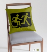 Accessible Exit Sign Project Wheelchair Wheelie Running Man Symbol Means of Egress Icon Disability Emergency Evacuation Fire Safety Throw Pillow Cushion 120