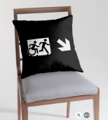 Accessible Exit Sign Project Wheelchair Wheelie Running Man Symbol Means of Egress Icon Disability Emergency Evacuation Fire Safety Throw Pillow Cushion 121