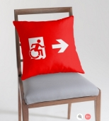 Accessible Exit Sign Project Wheelchair Wheelie Running Man Symbol Means of Egress Icon Disability Emergency Evacuation Fire Safety Throw Pillow Cushion 12