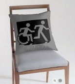 Accessible Exit Sign Project Wheelchair Wheelie Running Man Symbol Means of Egress Icon Disability Emergency Evacuation Fire Safety Throw Pillow Cushion 122