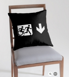 Accessible Exit Sign Project Wheelchair Wheelie Running Man Symbol Means of Egress Icon Disability Emergency Evacuation Fire Safety Throw Pillow Cushion 123