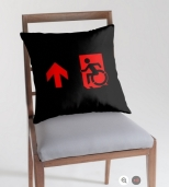 Accessible Exit Sign Project Wheelchair Wheelie Running Man Symbol Means of Egress Icon Disability Emergency Evacuation Fire Safety Throw Pillow Cushion 124