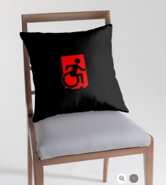 Accessible Exit Sign Project Wheelchair Wheelie Running Man Symbol Means of Egress Icon Disability Emergency Evacuation Fire Safety Throw Pillow Cushion 125
