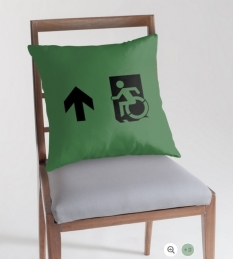 Accessible Exit Sign Project Wheelchair Wheelie Running Man Symbol Means of Egress Icon Disability Emergency Evacuation Fire Safety Throw Pillow Cushion 128