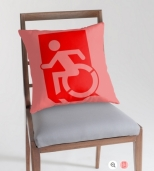 Accessible Exit Sign Project Wheelchair Wheelie Running Man Symbol Means of Egress Icon Disability Emergency Evacuation Fire Safety Throw Pillow Cushion 129