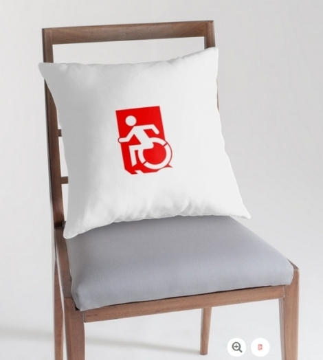 Accessible Exit Sign Project Wheelchair Wheelie Running Man Symbol Means of Egress Icon Disability Emergency Evacuation Fire Safety Throw Pillow Cushion 134