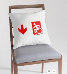 Accessible Exit Sign Project Wheelchair Wheelie Running Man Symbol Means of Egress Icon Disability Emergency Evacuation Fire Safety Throw Pillow Cushion 135