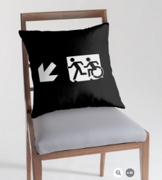 Accessible Exit Sign Project Wheelchair Wheelie Running Man Symbol Means of Egress Icon Disability Emergency Evacuation Fire Safety Throw Pillow Cushion 136