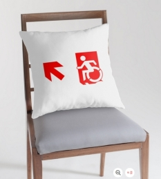 Accessible Exit Sign Project Wheelchair Wheelie Running Man Symbol Means of Egress Icon Disability Emergency Evacuation Fire Safety Throw Pillow Cushion 137