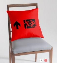 Accessible Exit Sign Project Wheelchair Wheelie Running Man Symbol Means of Egress Icon Disability Emergency Evacuation Fire Safety Throw Pillow Cushion 138