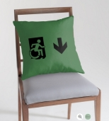 Accessible Exit Sign Project Wheelchair Wheelie Running Man Symbol Means of Egress Icon Disability Emergency Evacuation Fire Safety Throw Pillow Cushion 140