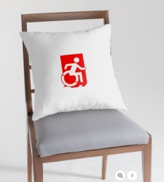 Accessible Exit Sign Project Wheelchair Wheelie Running Man Symbol Means of Egress Icon Disability Emergency Evacuation Fire Safety Throw Pillow Cushion 142