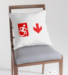 Accessible Exit Sign Project Wheelchair Wheelie Running Man Symbol Means of Egress Icon Disability Emergency Evacuation Fire Safety Throw Pillow Cushion 143