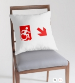 Accessible Exit Sign Project Wheelchair Wheelie Running Man Symbol Means of Egress Icon Disability Emergency Evacuation Fire Safety Throw Pillow Cushion 144