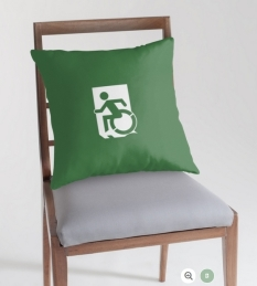 Accessible Exit Sign Project Wheelchair Wheelie Running Man Symbol Means of Egress Icon Disability Emergency Evacuation Fire Safety Throw Pillow Cushion 15