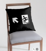 Accessible Exit Sign Project Wheelchair Wheelie Running Man Symbol Means of Egress Icon Disability Emergency Evacuation Fire Safety Throw Pillow Cushion 151