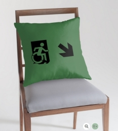 Accessible Exit Sign Project Wheelchair Wheelie Running Man Symbol Means of Egress Icon Disability Emergency Evacuation Fire Safety Throw Pillow Cushion 152