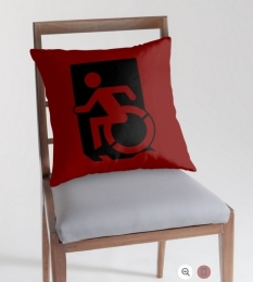 Accessible Exit Sign Project Wheelchair Wheelie Running Man Symbol Means of Egress Icon Disability Emergency Evacuation Fire Safety Throw Pillow Cushion 153