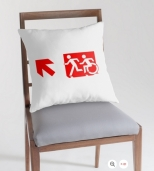 Accessible Exit Sign Project Wheelchair Wheelie Running Man Symbol Means of Egress Icon Disability Emergency Evacuation Fire Safety Throw Pillow Cushion 154