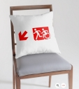 Accessible Exit Sign Project Wheelchair Wheelie Running Man Symbol Means of Egress Icon Disability Emergency Evacuation Fire Safety Throw Pillow Cushion 155