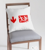 Accessible Exit Sign Project Wheelchair Wheelie Running Man Symbol Means of Egress Icon Disability Emergency Evacuation Fire Safety Throw Pillow Cushion 156