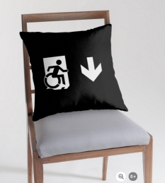 Accessible Exit Sign Project Wheelchair Wheelie Running Man Symbol Means of Egress Icon Disability Emergency Evacuation Fire Safety Throw Pillow Cushion 157