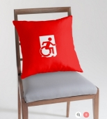 Accessible Exit Sign Project Wheelchair Wheelie Running Man Symbol Means of Egress Icon Disability Emergency Evacuation Fire Safety Throw Pillow Cushion 162