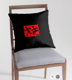 Accessible Exit Sign Project Wheelchair Wheelie Running Man Symbol Means of Egress Icon Disability Emergency Evacuation Fire Safety Throw Pillow Cushion 17