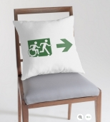 Accessible Exit Sign Project Wheelchair Wheelie Running Man Symbol Means of Egress Icon Disability Emergency Evacuation Fire Safety Throw Pillow Cushion 20