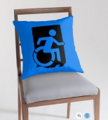 Accessible Exit Sign Project Wheelchair Wheelie Running Man Symbol Means of Egress Icon Disability Emergency Evacuation Fire Safety Throw Pillow Cushion 2