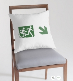 Accessible Exit Sign Project Wheelchair Wheelie Running Man Symbol Means of Egress Icon Disability Emergency Evacuation Fire Safety Throw Pillow Cushion 22