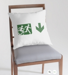 Accessible Exit Sign Project Wheelchair Wheelie Running Man Symbol Means of Egress Icon Disability Emergency Evacuation Fire Safety Throw Pillow Cushion 23