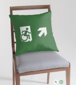 Accessible Exit Sign Project Wheelchair Wheelie Running Man Symbol Means of Egress Icon Disability Emergency Evacuation Fire Safety Throw Pillow Cushion 24