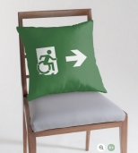 Accessible Exit Sign Project Wheelchair Wheelie Running Man Symbol Means of Egress Icon Disability Emergency Evacuation Fire Safety Throw Pillow Cushion 26